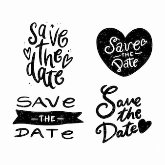 Simplistic stroke black lettering with save the date