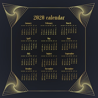 Simply design desk calendar of 2020 year template. week starts on sunday.