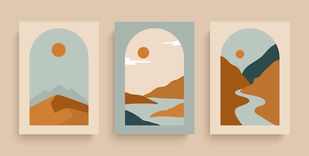 Просто векторные плакаты с реками, пустыней, солнцем и горами