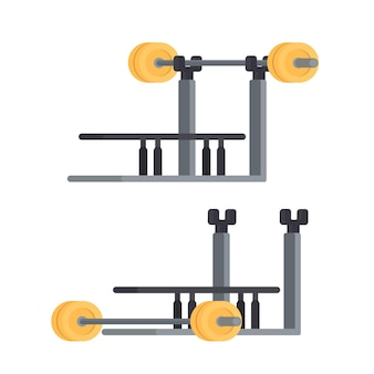The simulator for a bench press. barbell. the simulator with a barbell is isolated