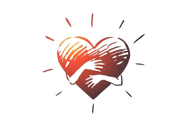 성실, 사랑, 배려, 손, 심장 개념. 손으로 그린 된 손 포옹 심장 개념 스케치.