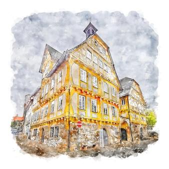 Зиндельфинген германия акварельный эскиз рисованной иллюстрации