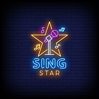 Sing star neon signs style text