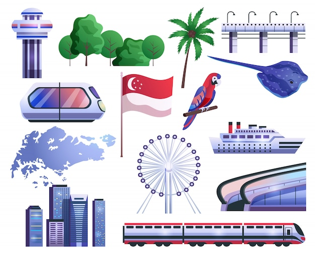 Singapore cartoon icons set
