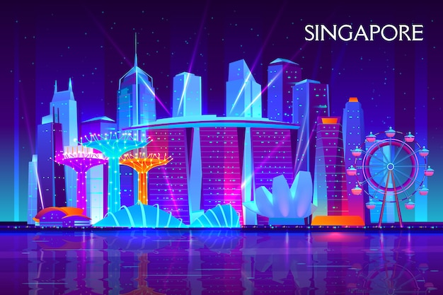 Singapore city night skyline cartoon