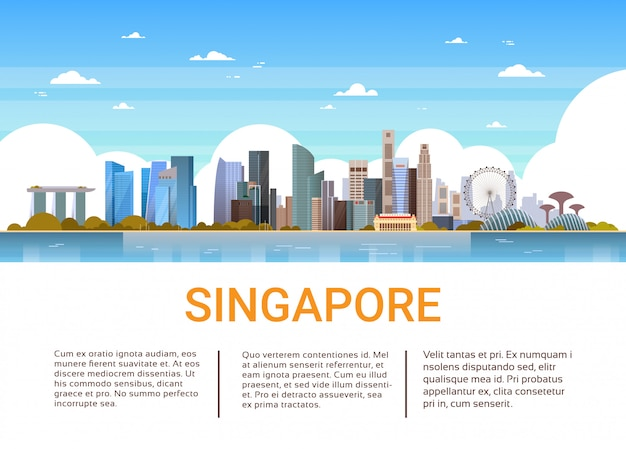 Singapore cityscape view with famous landmarks and skyscrapers template banner
