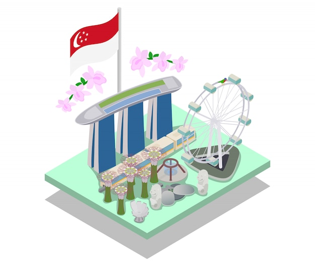Singapore concept banner, isometric style