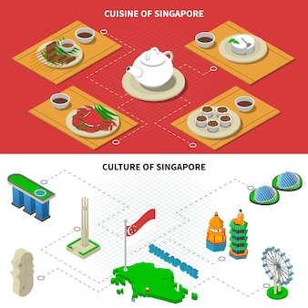 Singapore culture cuisine isometric elements