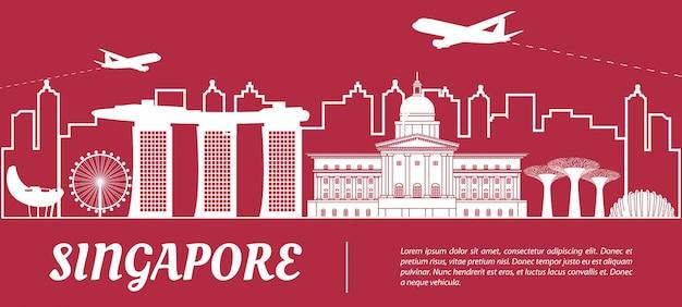 Singapore famous landmark silhouette style