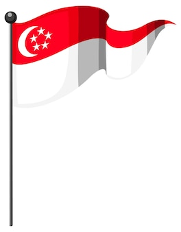Singapore flag with pole in cartoon style isolated on white background