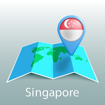 Singapore flag world map in pin with name of country on gray background