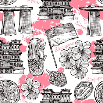 Singapore hand drawn sketch seamless pattern