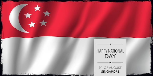 Singapore happy national day greeting card banner vector illustration