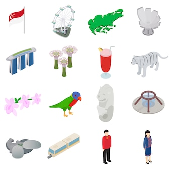 Singapore icons set in isometric 3d style isolated on white background