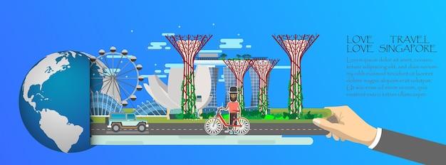Сингапурский инфографический, глобальный с достопримечательностями сингапура