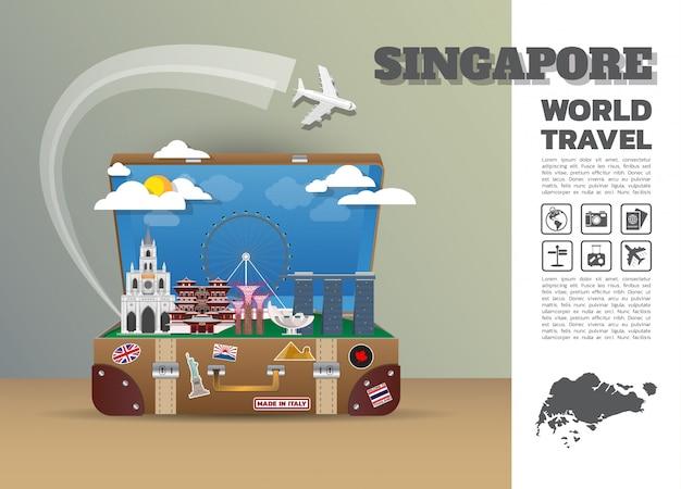 싱가포르 랜드 마크 글로벌 여행 및 여행 인포 그래픽 수하물. 디자인 템플릿 ./ 일러스트