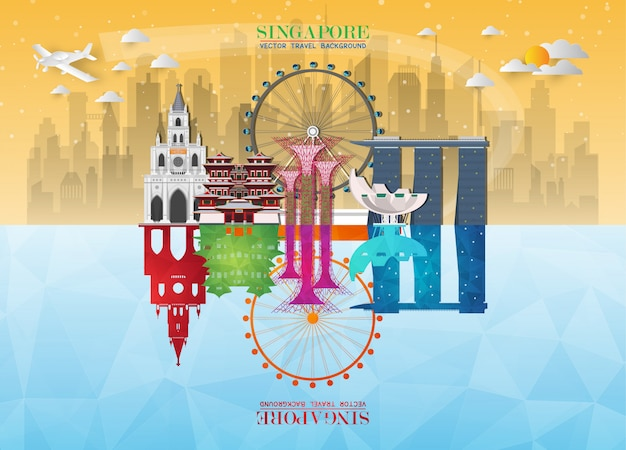 Singapore landmark global travel and journey paper background.