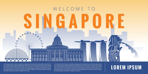 Singapore landmark illustration