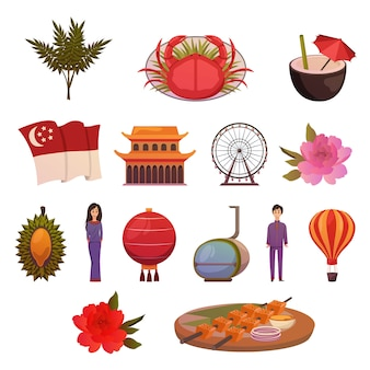 Singapore landmarks attractions icon set