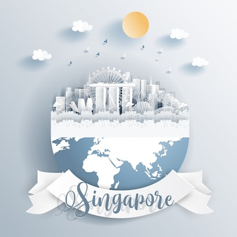 Singapore landmarks on earth