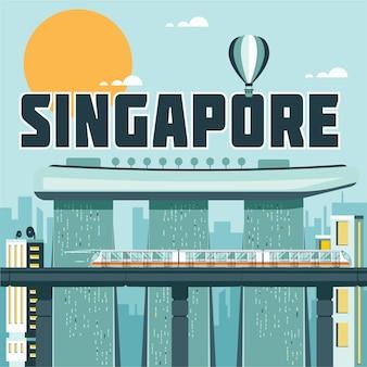 Illustrazione di punti di riferimento di singapore