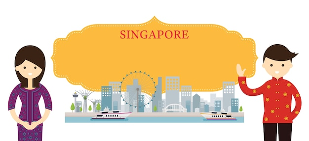 Singapore landmarks and traditional clothing