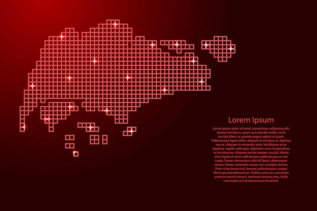赤いモザイク構造の正方形と輝く星からのシンガポールの地図のシルエット。ベクトルイラスト。