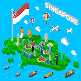 Singapore map touristic symbols isometric poster