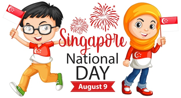Singapore national day banner with children hold singapore flag cartoon character