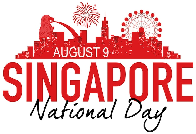 シンガポールのランドマークとシンガポール建国記念日のバナー
