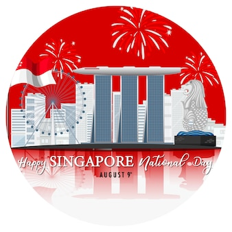 Singapore national day banner with marina bay sands singapore