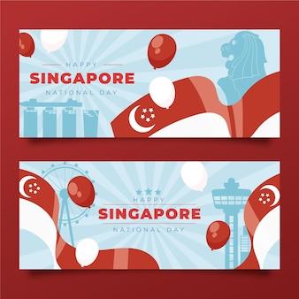 Set di banner per la festa nazionale di singapore