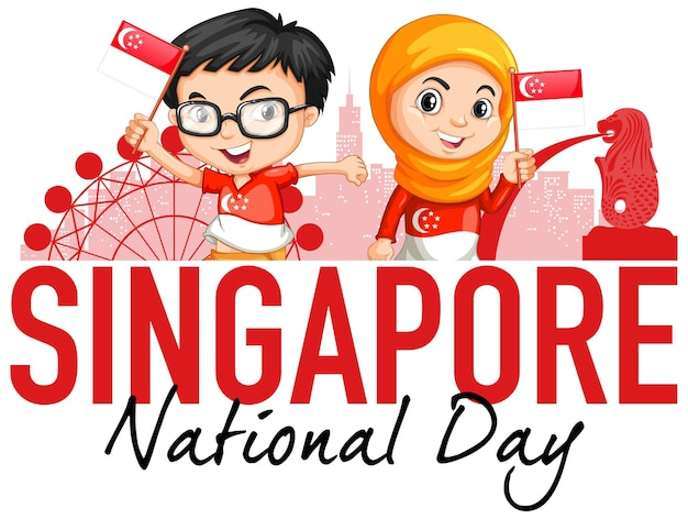 Singapore national day with children hold singapore flag cartoon character