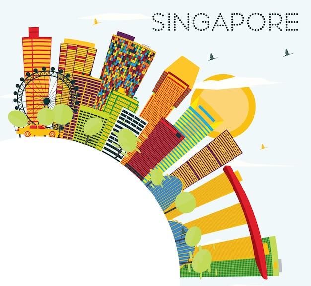 Горизонт сингапура с цветными зданиями, голубым небом и копией пространства. векторные иллюстрации. деловые поездки и концепция туризма. изображение для презентационного баннера и веб-сайта.