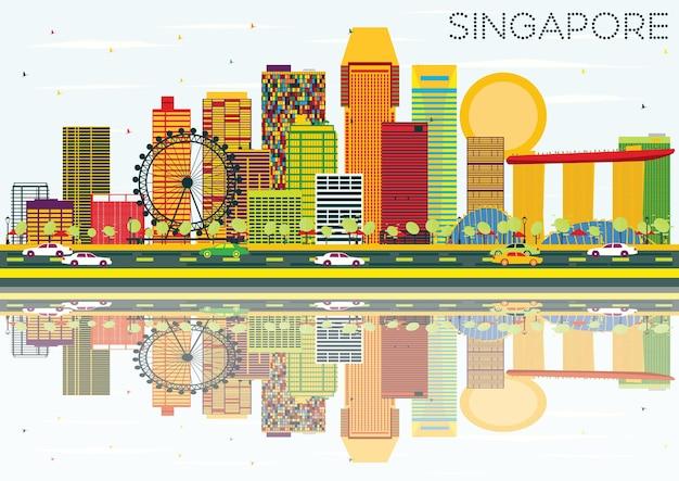 Горизонт сингапура с цветными зданиями, голубым небом и размышлениями. векторные иллюстрации. деловые поездки и концепция туризма. изображение для презентационного баннера и веб-сайта.