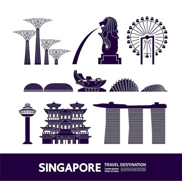 Singapore travel destination grand illustration.