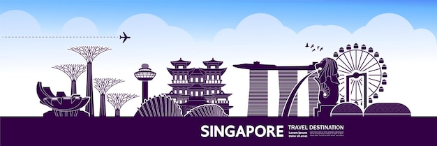 Singapore travel destination grand illustration.