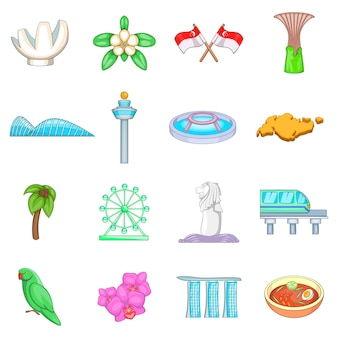 Singapore travel icons set