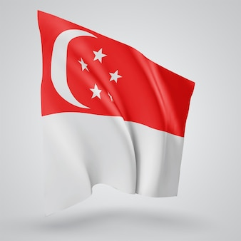 Singapore, vector flag with waves and bends waving in the wind on a white background.