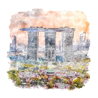 Singapore watercolor sketch hand drawn illustration
