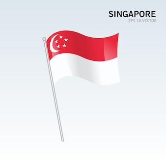 Singapore waving flag isolated on gray background
