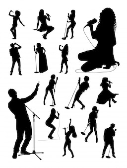 Singer gesture silhouettes.