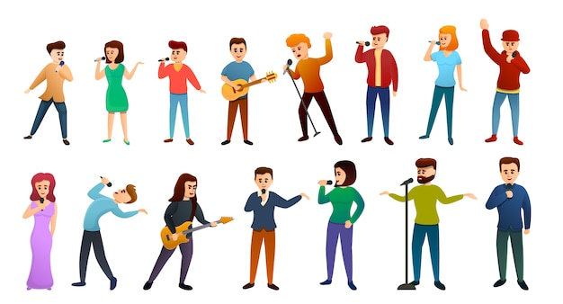 Singer icons set