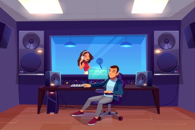 Певица в студии звукозаписи.