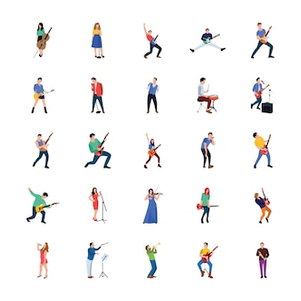 Singer and musician flat characters pack