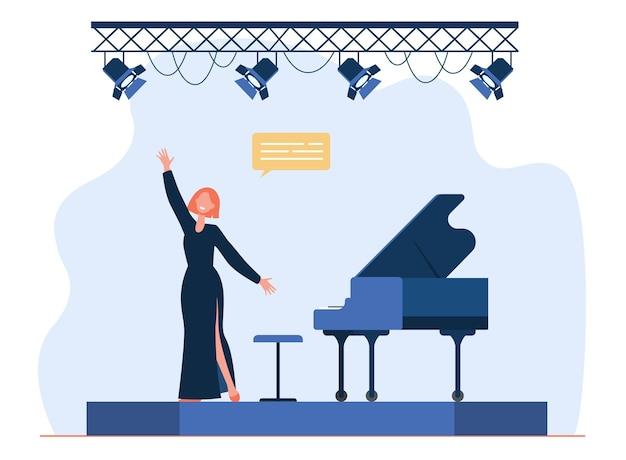 무대에서 공연하는 가수. 노래하는 여자, 보컬리스트, 훌륭한 피아노. 만화 그림
