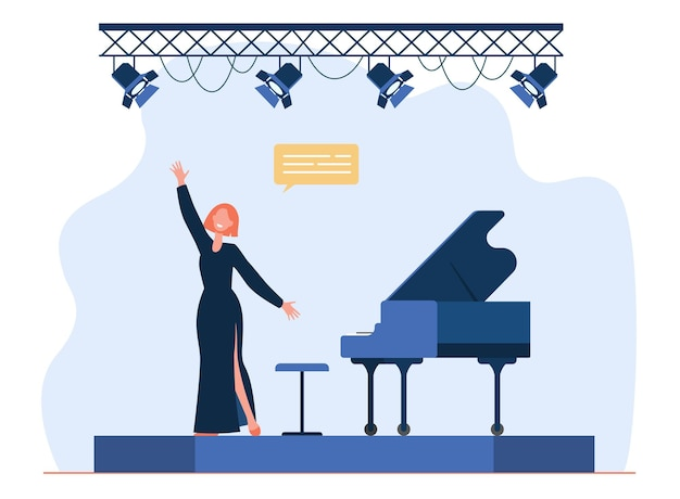Singer performing on stage. singing woman, vocalist, great piano. cartoon illustration