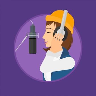 Singer recording song.