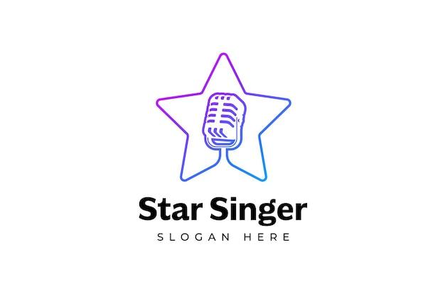 歌手の星のロゴのテンプレート星の中のマイクのシルエット