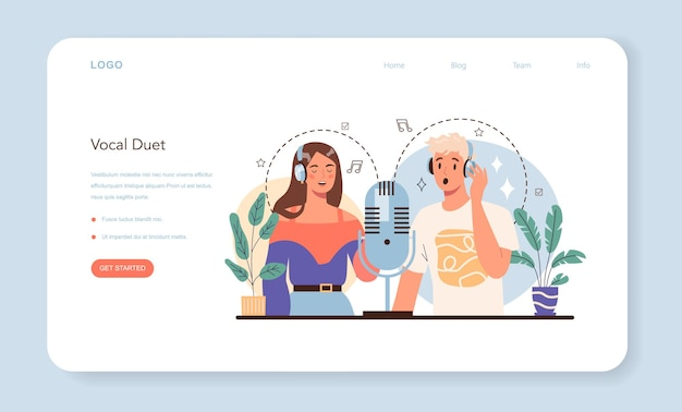 Веб-баннер певца или целевая страница